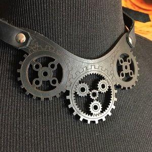 Laser cut steampunk leather choker